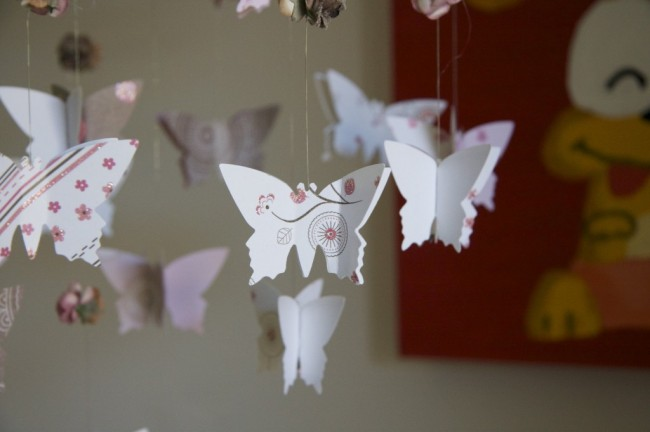 DIY Butterfly Roses Chandelier