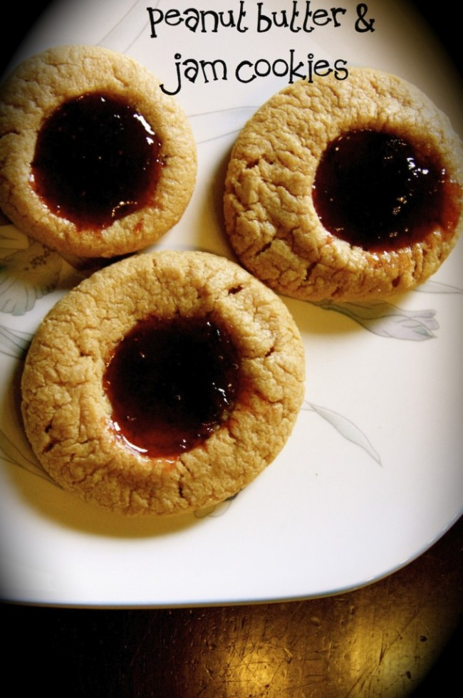 for peanut butter and jam these peanut butter and jam cookies are one ...