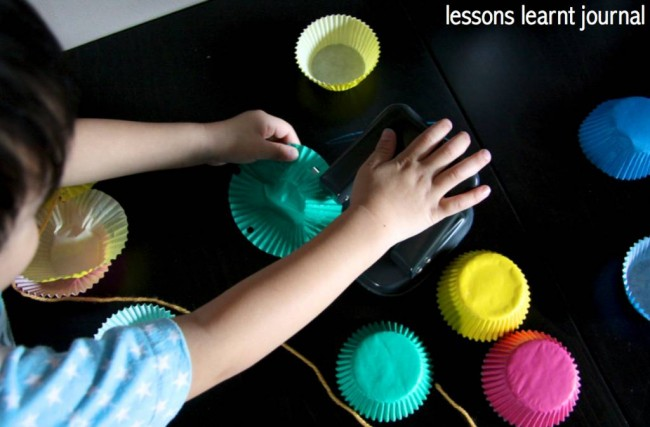 Fine Motor Skills Patty Pan Mobile via Lessons Learnt Journal
