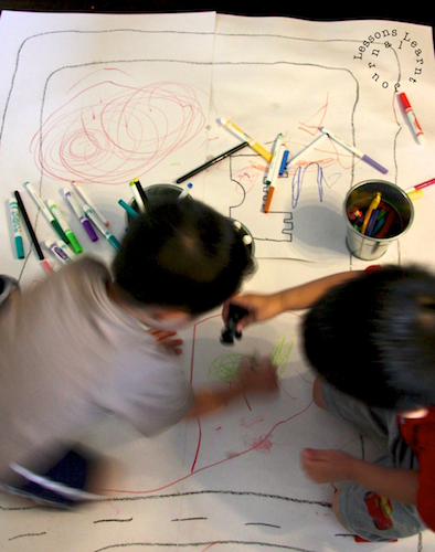 Mega Floor Drawings for Small World Play via Lessons Learnt Journal
