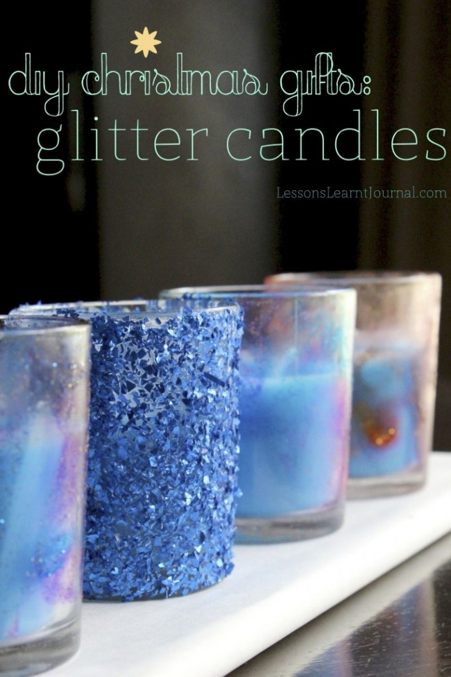Diy christmas gifts glitter candles