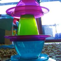 Building with plastic plates, cups and bowls at Learn with Play at home