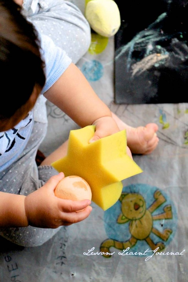 Baby Play: Open Ended Play with Wet Chalk | Lessons Learnt Journal
