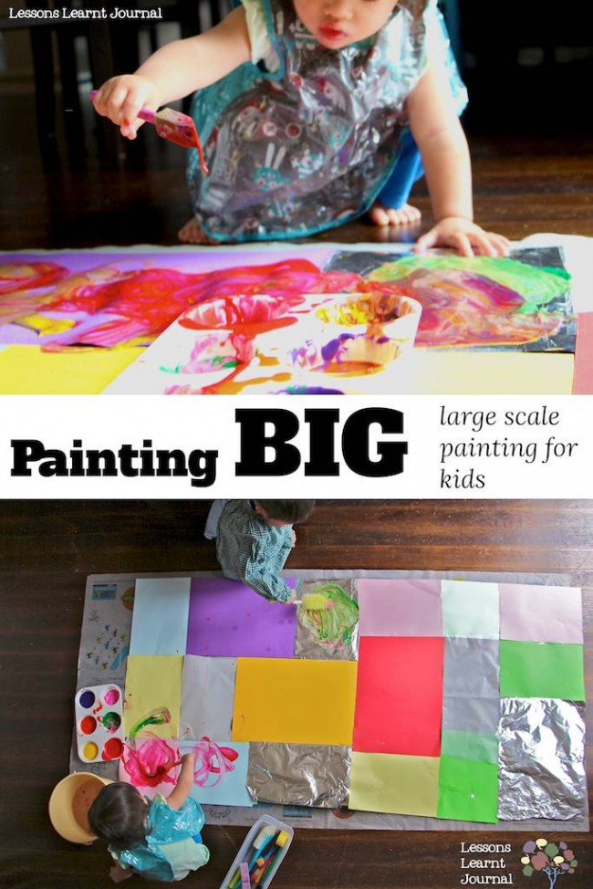 Art Projects for Kids Large Scale Painting via Lessons Learnt Journal