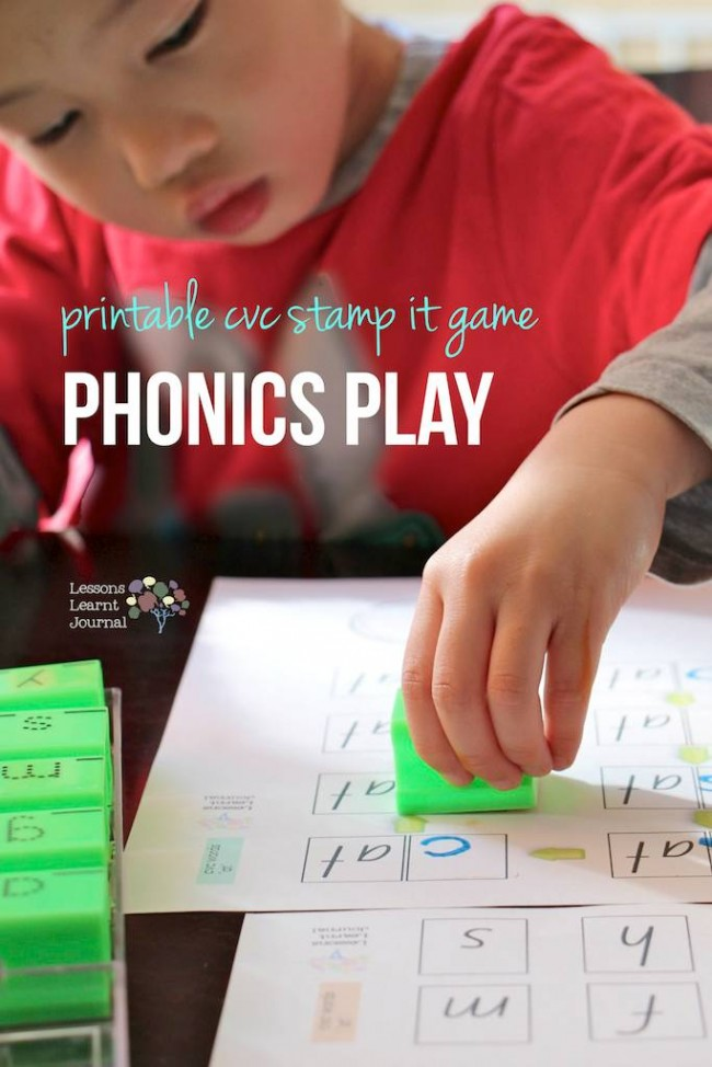 Phonics Play Printable CVC Stamp It Game via Lessons Learnt Journal