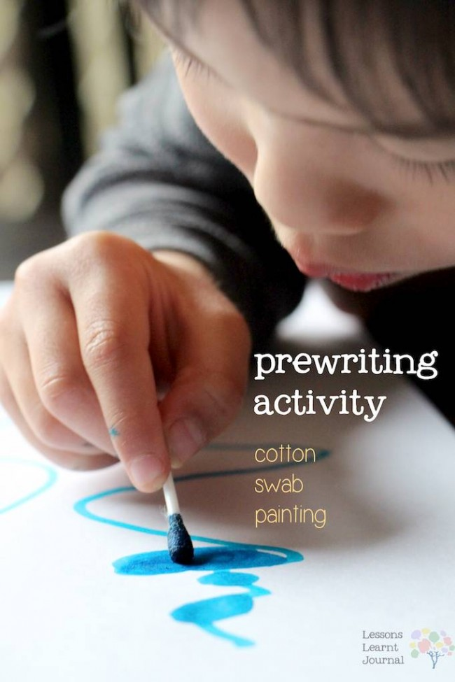 Prewriting Activity Cotton Swab Painting via Lessons Learnt Journal
