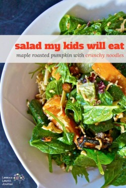 Salad Recipe Maple Roasted Pumpkin with Crunchy Noodles via Lessons Learnt Journal
