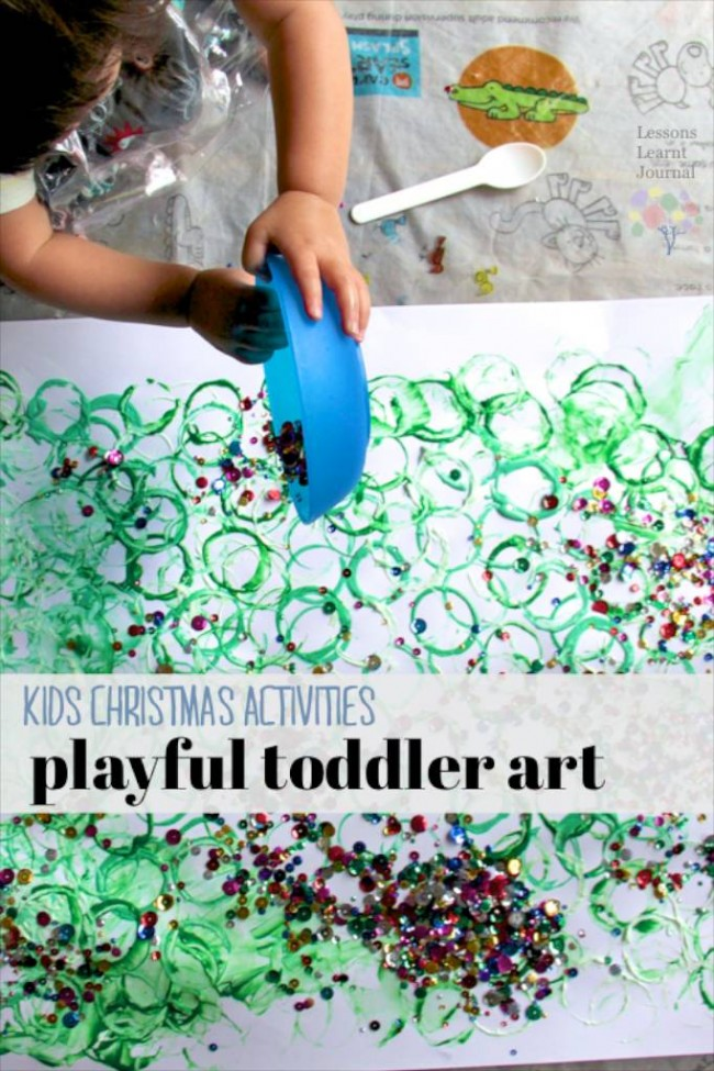 Christmas Activities for Kids- Playful Toddler Art via Lessons Learnt Journal