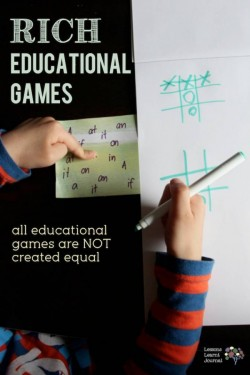 Educational Games Rich Game for Sight Words via Lessons Learnt Journal