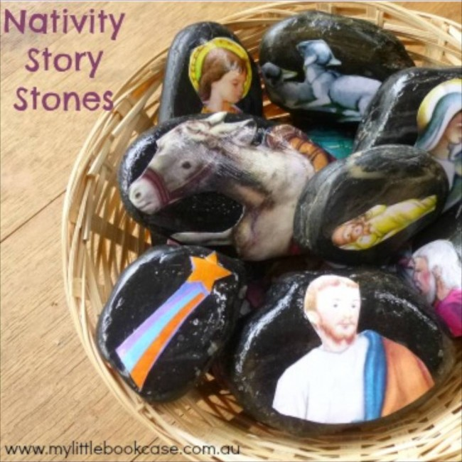 Nativity Story Stones via My Little Bookcase