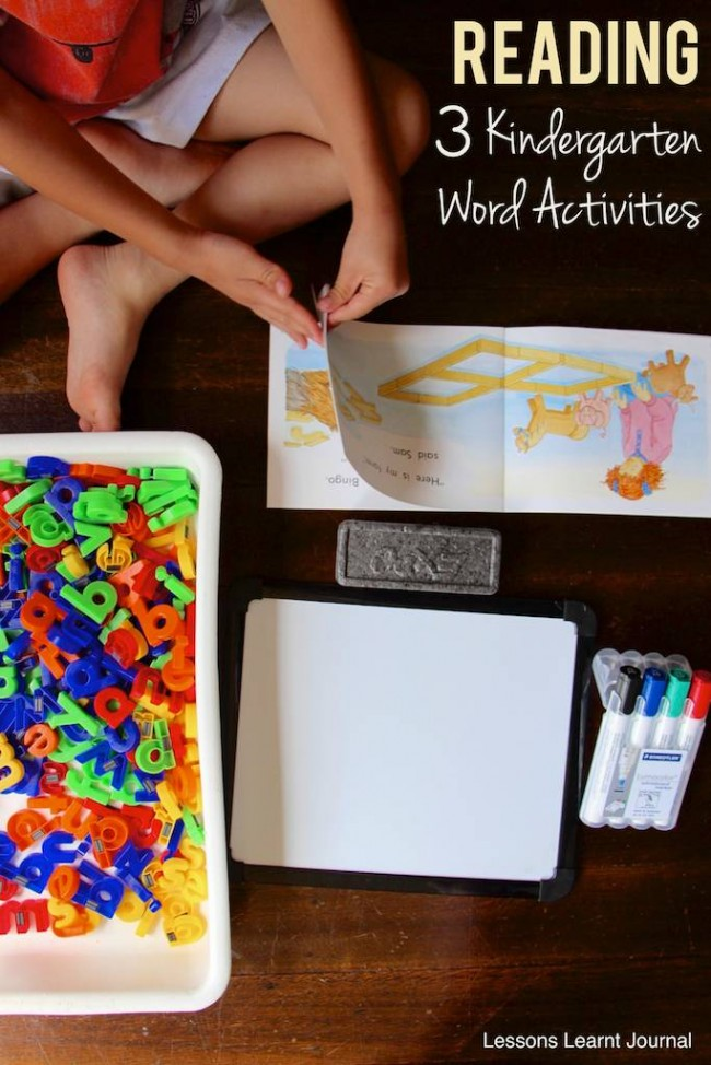 Reading Kindergarten Word Activities via Lessons Learnt Journal
