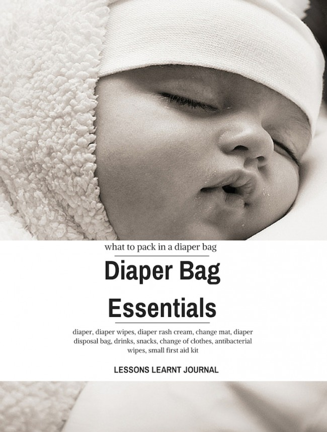 diaper bag essentials via Lessons Learnt Journal